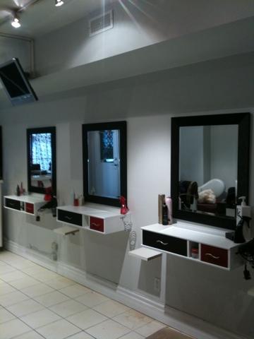 Custom salon cabinets shower door glass railings and for Armoire salon design