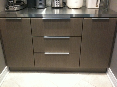 Stainless steel counter top w custom cabinet shower for Custom stainless steel cabinet doors
